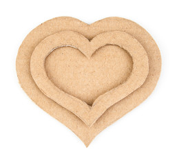Handmade hearts applique made of cardboard. Isolated on white