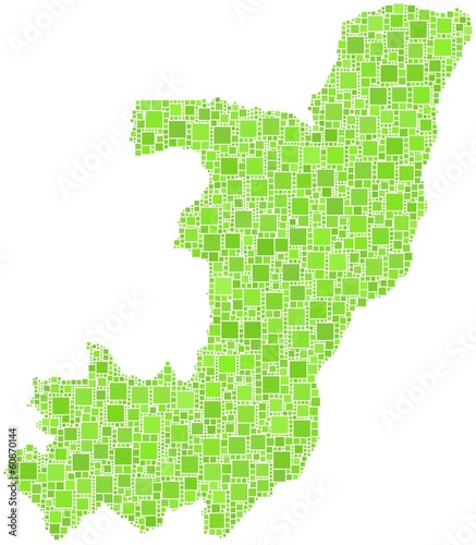 Republic of the Congo in a mosaic of green squares