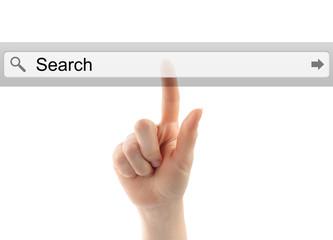 Hand pushing virtual bar on white background