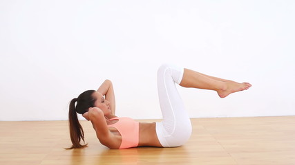 Fit model doing abdominal crunches