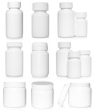 White medical containers set on white background .