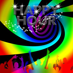 Happy Hour poster with rainbow spinning vortex
