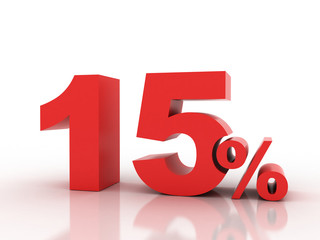 3d rendering of fifteen  percent discount in red letters on a wh