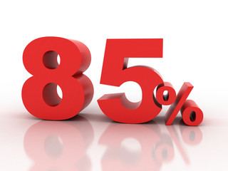 3d rendering of a 85 percent discount in red letters on a white