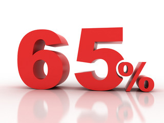 3d rendering of sixty five  percent discount in red letters on a