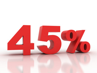 3d rendering of a 45 percent discount in red letters on a white