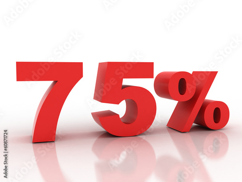 3d rendering of a 75 percent discount in red letters on a white
