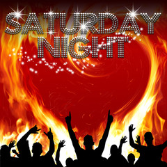 Saturday Night poster heart-shaped flames