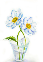 Spring flowers in vase heartshaped, watercolor illustration
