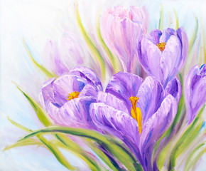 Crocuses, oil painting on canvas