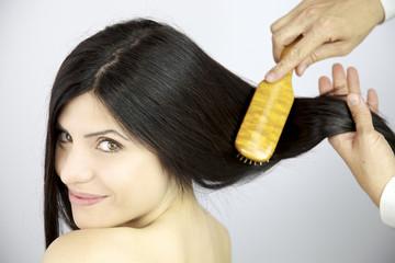 Long beautiful hair brushed
