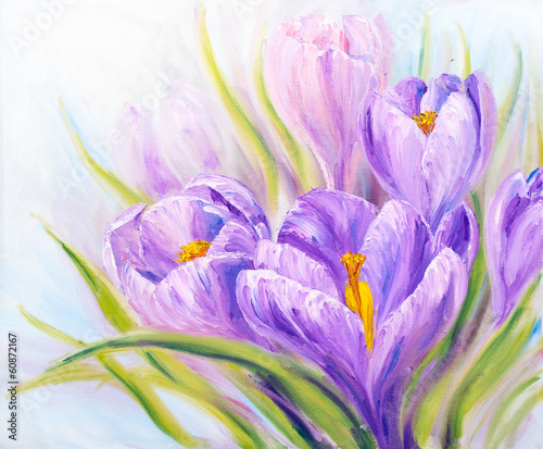 Foto op Plexiglas Krokussen Crocuses, oil painting on canvas