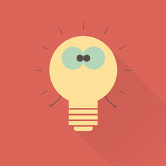 Light bulb monster. Flat icon.