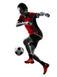 asian soccer player young man silhouette
