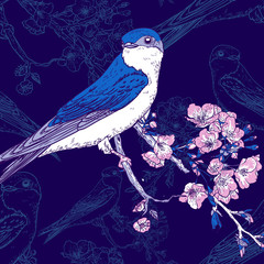 Spring cherry background with birds