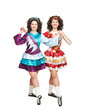 Irish dancers posing isolated