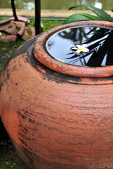 Rainwater storage jars in spa