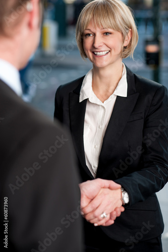 Two corporate identities shaking hands