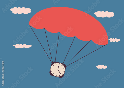 The clock on the parachute.Illustration in retro style.