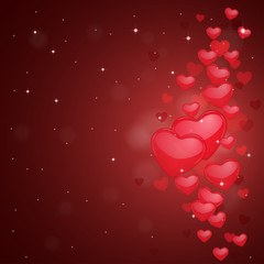 Valentines Day abstract background with red hearts.