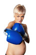 bared woman boxing
