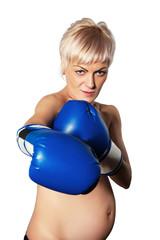 bared woman boxing