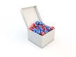 Box with Euro/Dollar balls in it 3d render