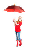 girl with umbrella isolated on white