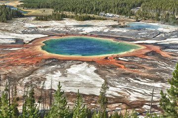 Yellowstone Grand Prismatic Spring aerial view