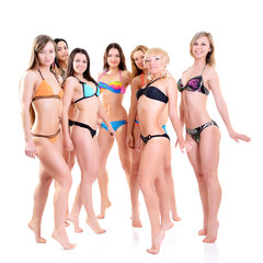 group of girls in bikini, seven attractive caucasian young women