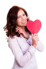 glückliche junge Frau mit Herz
