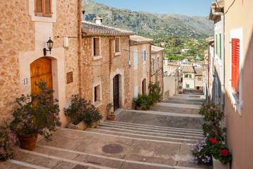 Alley with stairs at Pollenca, Mallorca, Spain