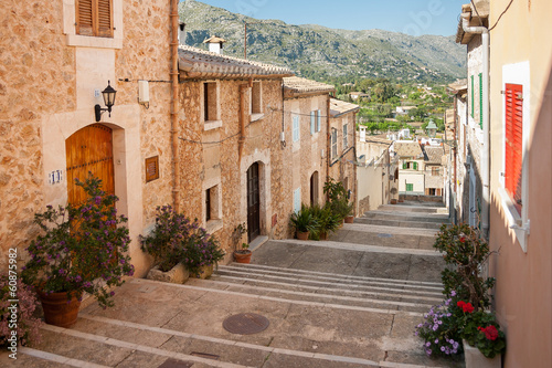 canvas print picture Alley with stairs at Pollenca, Mallorca, Spain