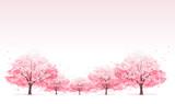 桜並木 Line of cherry blossom tree background - 60876360