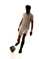 Football player score goals on white background