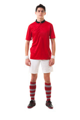Young football player male isolated on white background Full Len