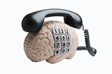 Human brain model composited with a telephone