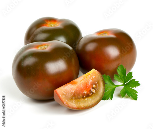 kumato tomatoes isolated on white background