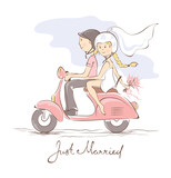 Newlyweds on a scooter