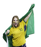 Woman holding a brazilian flag celebrate on white background