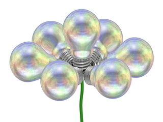 Flower of pearl light bulbs on green wire