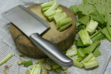 chopping block, Kitchen knife and vegetables
