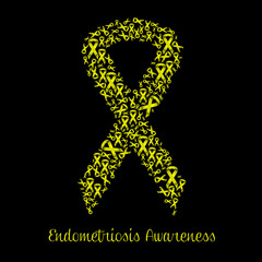 Illustration of yellow ribbon for Endometriosis