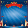 Square blue night circus invitation
