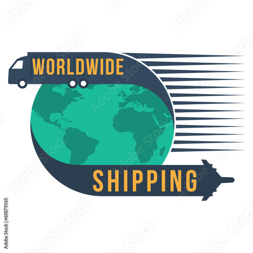 Worldwide shipping with globe icon, vector format : credit NASA