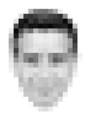 Verpixeltes, männliches Gesicht von vorne, Vektor, schwarz/weiß