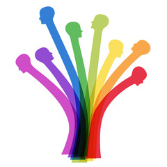 Baum aus Köpfen in Regenbogenfarben – Vektor und freigestellt