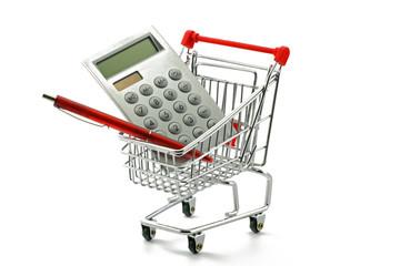 taschenrechner in einkaufswagen
