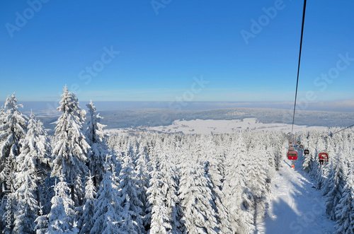 canvas print picture Seilbahn Winter am Ochsenkopf