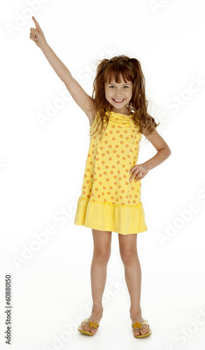 Cute Little Girl Pointing Upward